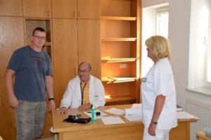 über die arbeitsmedizinische Betreuung durch Dr. Pieth und Schwester Beata in Verbindung mit der Grippeschutzimpfung